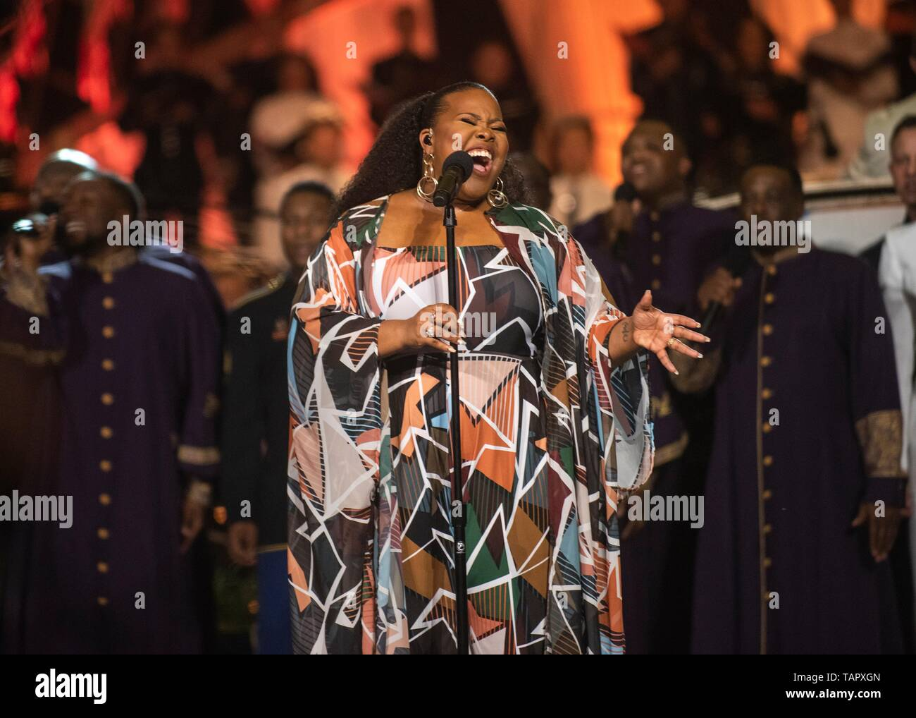Musician Amber Riley performs on stage during the National Memorial Day Concert on the west lawn of the U.S. Capitol May 26, 2019 in Washington, D.C. The concert is in remembrance of service members that gave their life for the country. - Stock Image