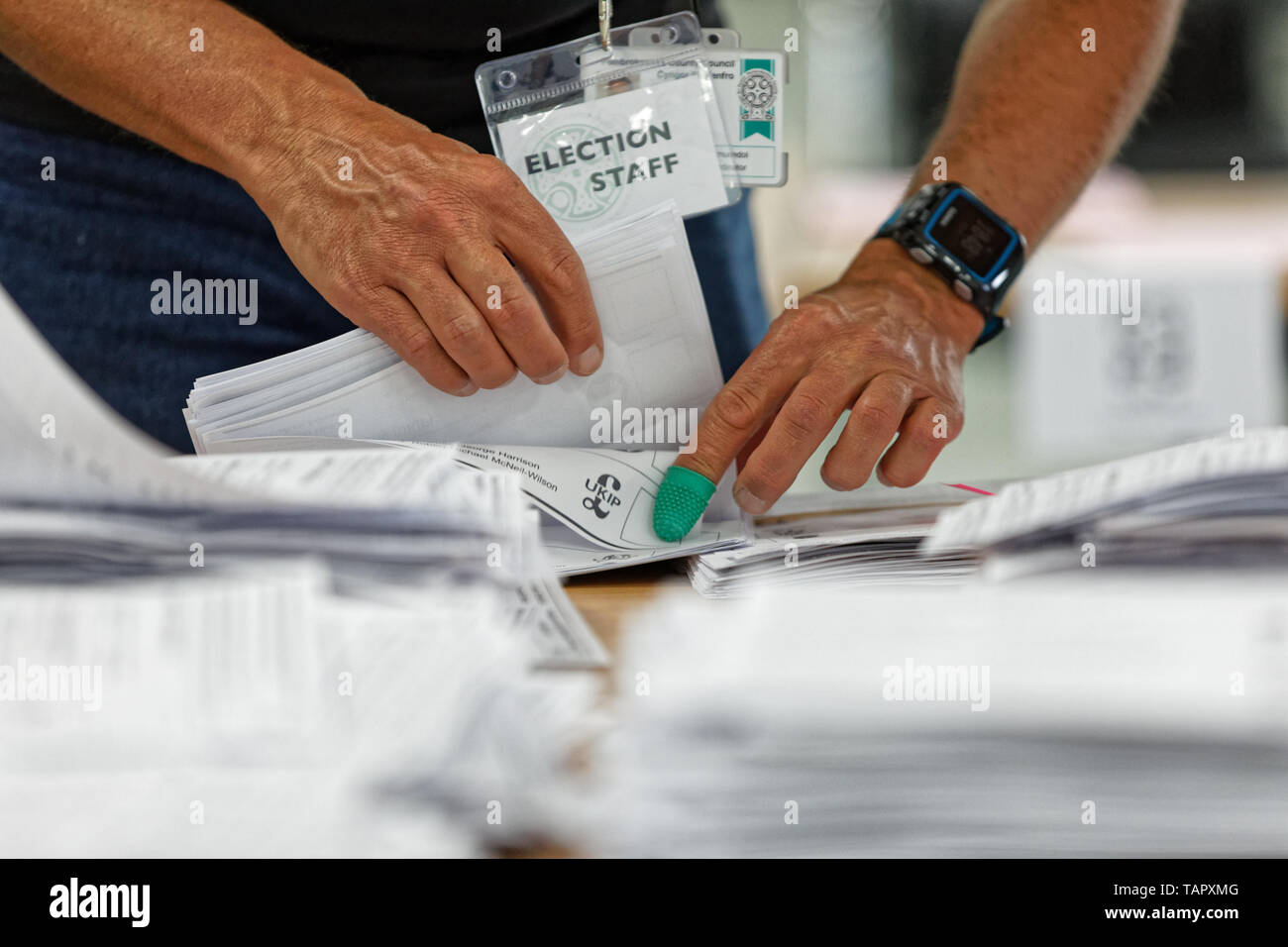 Haverfordwest, UK. 26th May, 2019. Ballots are being counted at the Pembrokeshire Archives in Haverfordwest Credit: ATHENA PICTURE AGENCY LTD/Alamy Live News - Stock Image