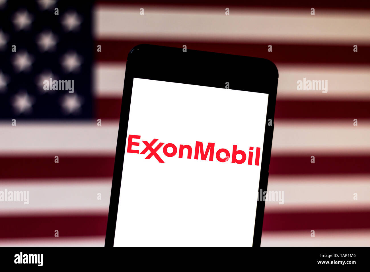 Brazil. 24th May, 2019. In this photo illustration the Exxon Mobil Corporation logo is seen displayed on a smartphone. Credit: Rafael Henrique/SOPA Images/ZUMA Wire/Alamy Live News - Stock Image