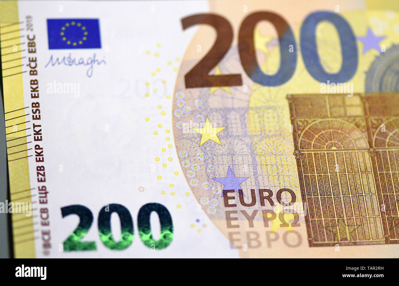 Rom, Italy  20th May, 2019  The front of a new 200-euro banknote