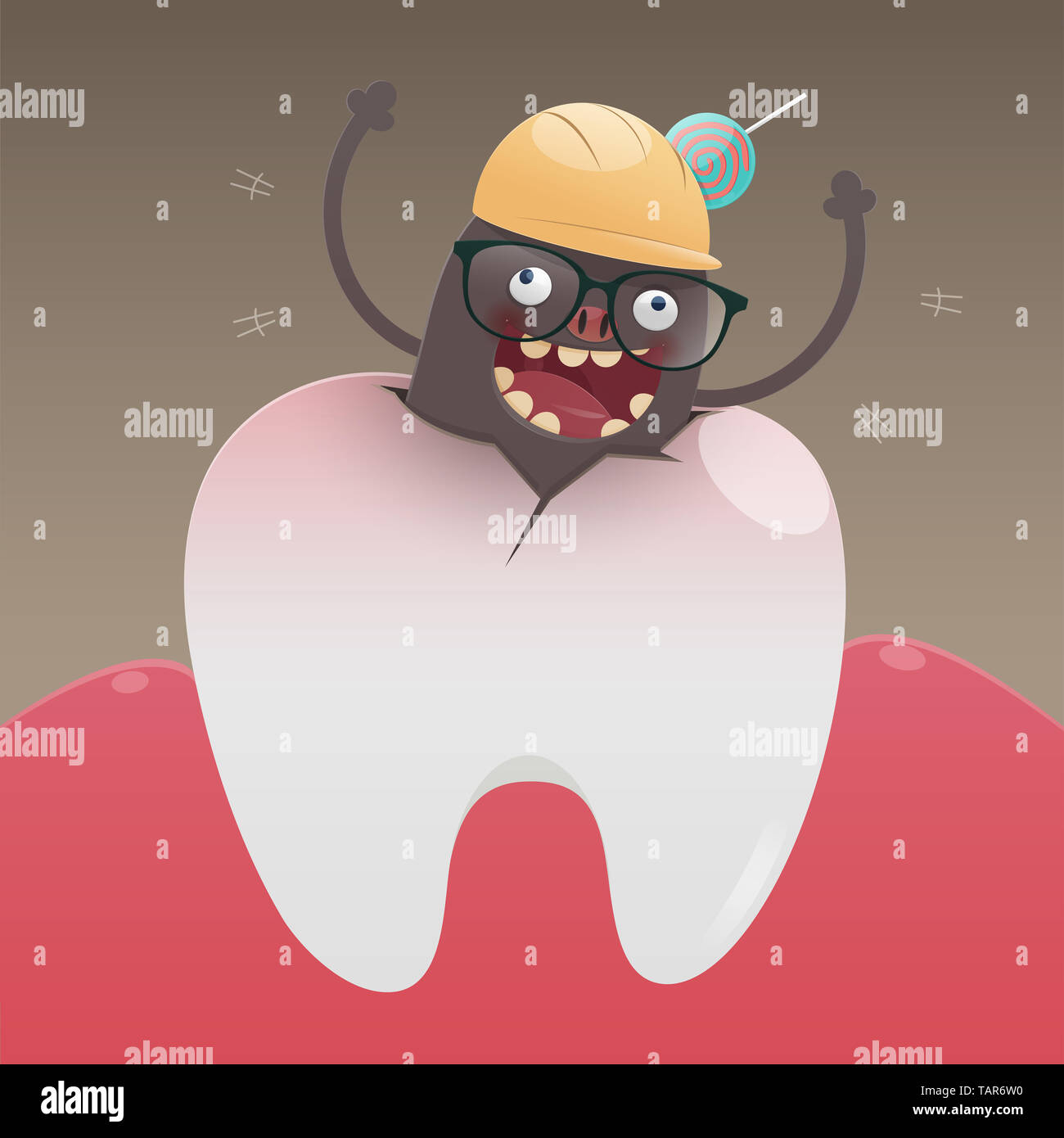 The Bad Monster Is Digging And Damaging The Tooth A Toothache Is Caused By Tooth Decay Cartoon Vector Concept With Tooth Health Stock Photo Alamy