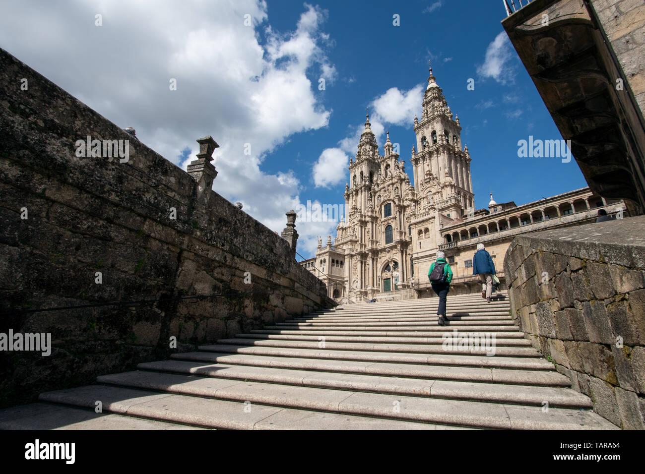 View of the Santiago de Compostela cathedral from Obradoiro square. Pilgrimage destiny Stock Photo