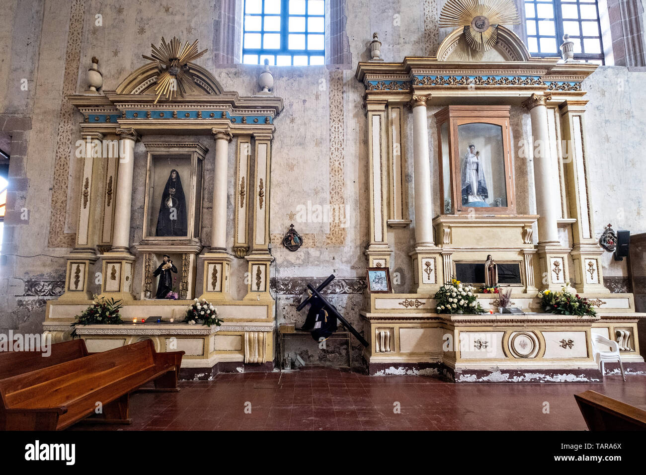 Interior of the San Nicolas Tolentino Temple and Ex-Monastery in Actopan, Hidalgo, Mexico. The colonial church and convent  was built in 1546 and combine architectural elements from the romantic, gothic and renaissance periods. - Stock Image
