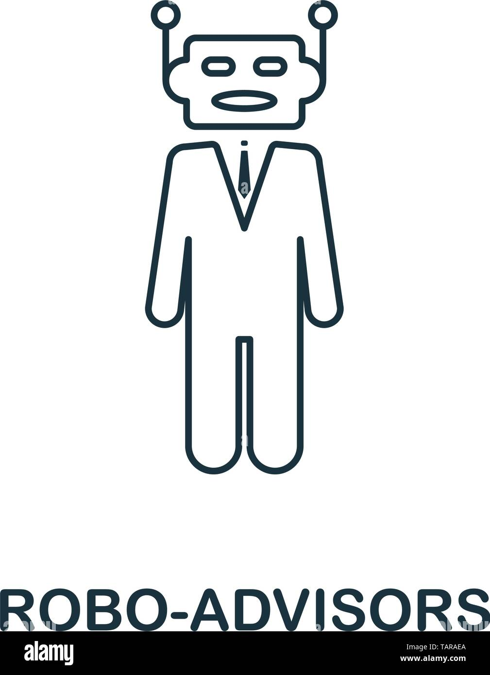 Robo-Advisors icon outline style. Thin line design from fintech icons collection. Pixel perfect robo-advisors icon for web design, apps, software Stock Vector