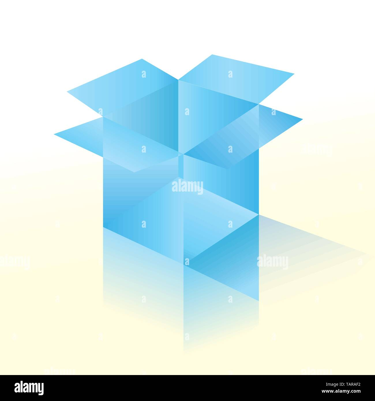 Vector illustration of glass box in 3D with reflects. Stock Vector