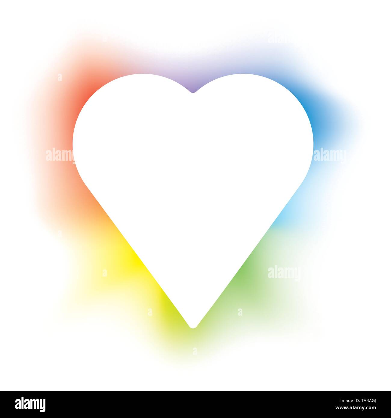 Vector illustration of isolated heart with backlight in colors. - Stock Vector