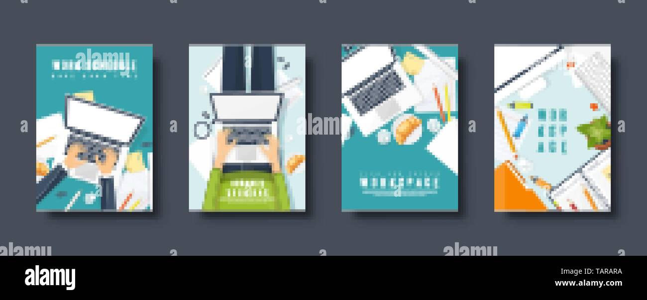 Workplace flat style covers set. Laptop, documents and papers. Paperwork. Office work. Workspace management. Creative design. Vector illustration. - Stock Image
