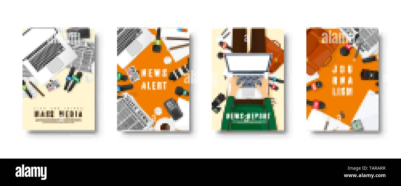 Mass media flat style covers set. Press conference with correspondent and reporter. Broadcasting multimedia news. Newspaper and TV show. Internet - Stock Image