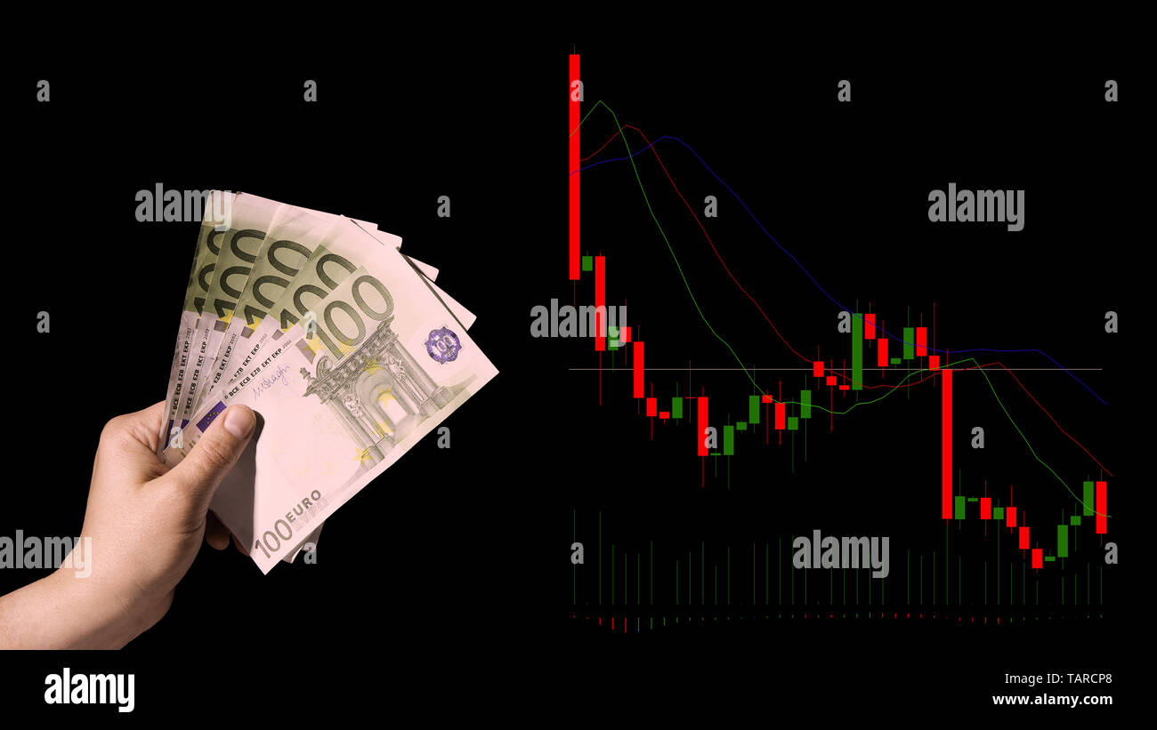 Falling stock prices and hand holding money investor fails and loses money. Conceptual view of the foreign exchange market.- Image - Stock Image