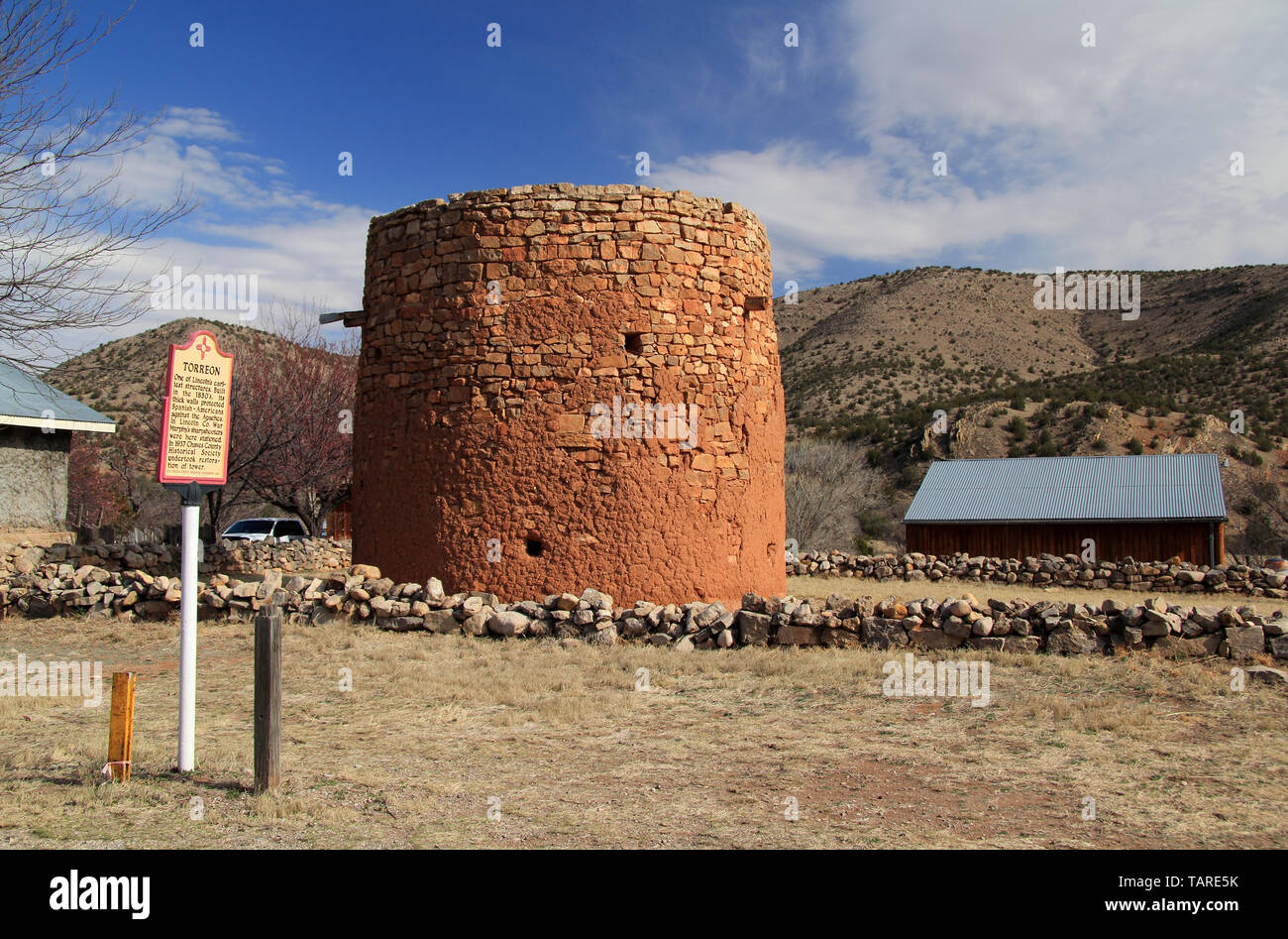 The old Torreon in Lincoln, New Mexico, served as protection against the Apaches and also played a role during the famous Lincoln County War Stock Photo