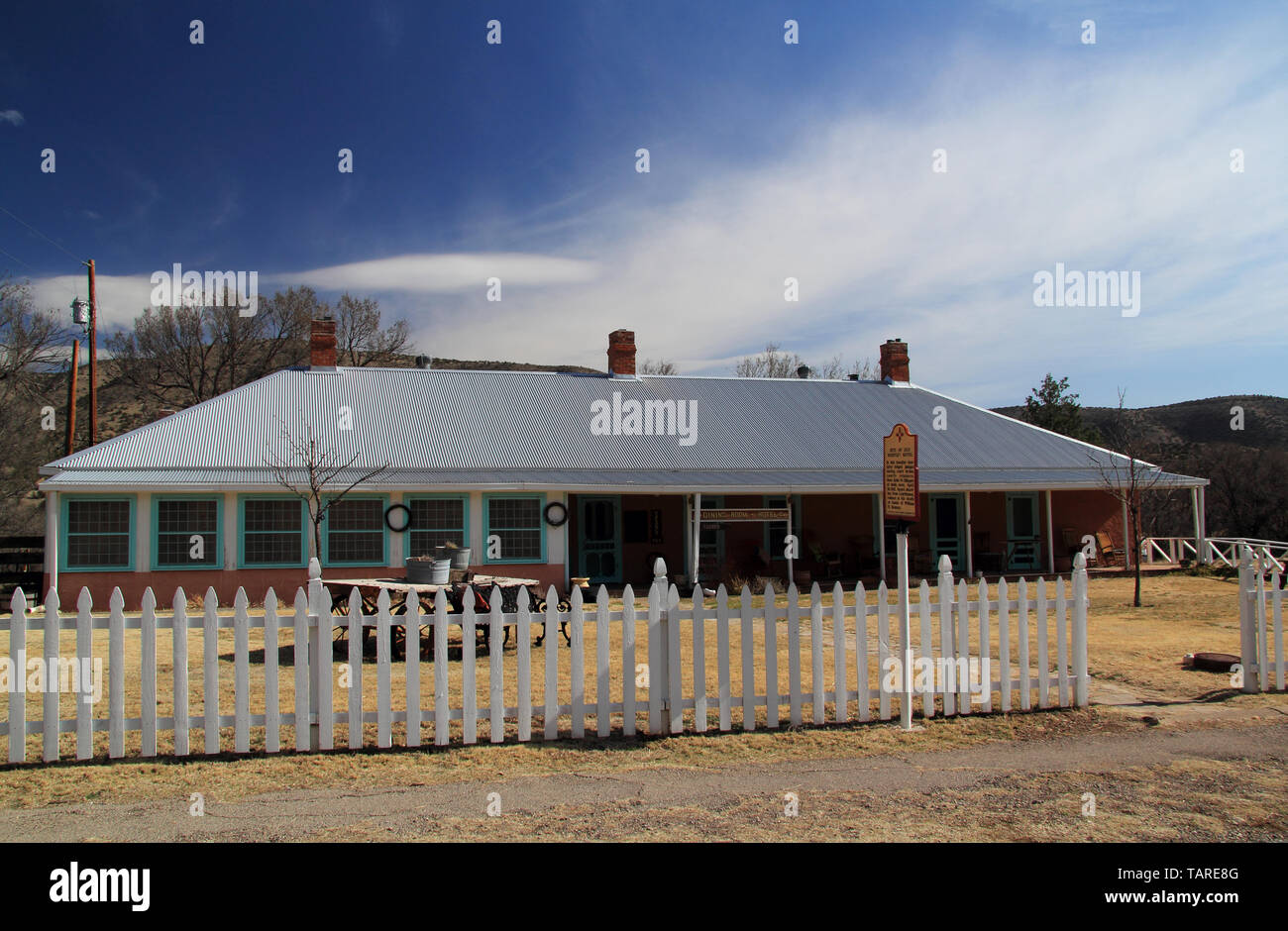 Numerous structures in Lincoln, New Mexico, are associated with Billy the Kid and the infamous Lincoln County War of the Old West Stock Photo