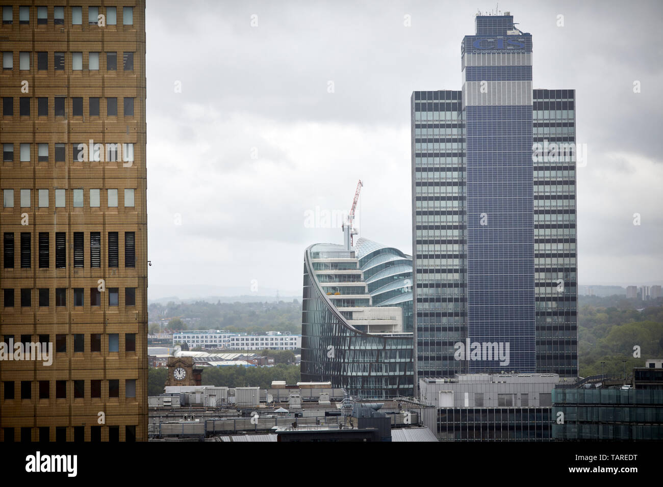 Manchester Coop skyline landmarks, Arndale House, CIS Building and 1 Angel Square - Stock Image