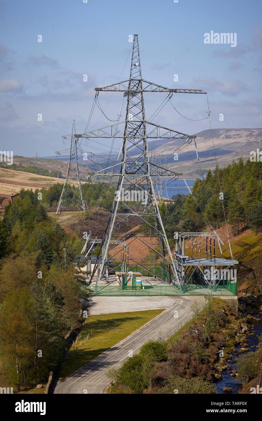 Woodhead 3 Derbyshire view from above the old railway line trans-Pennine tunnel. Owners National Grid plc use the tunnel to carry electricity cables - Stock Image