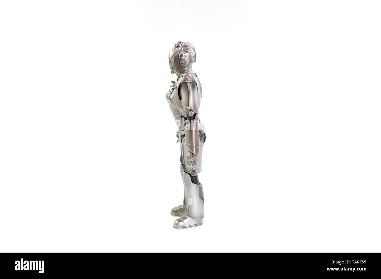 Cyberman toy with  white background - Stock Image