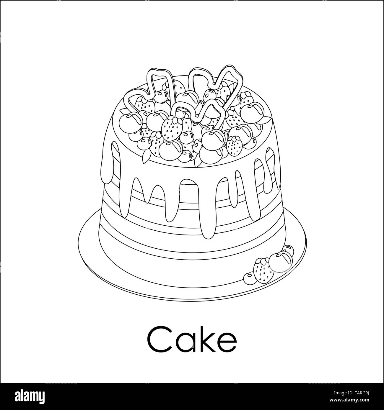 Coloring book page. High striped berry cake in doodle style. Poured on top of chocolate, decorated with assorted strawberries, blueberries, cherries.  - Stock Image