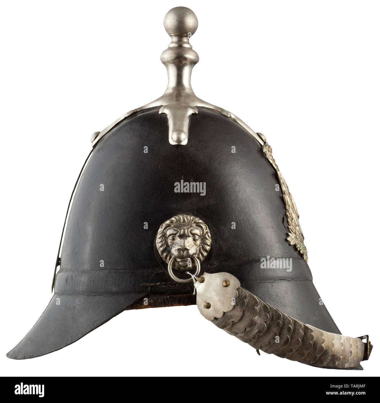 Body armour, helmets, model 1848 for Bavarian Landwehr (militia) infantry, leather with silver fittings, Editorial-Use-Only - Stock Image