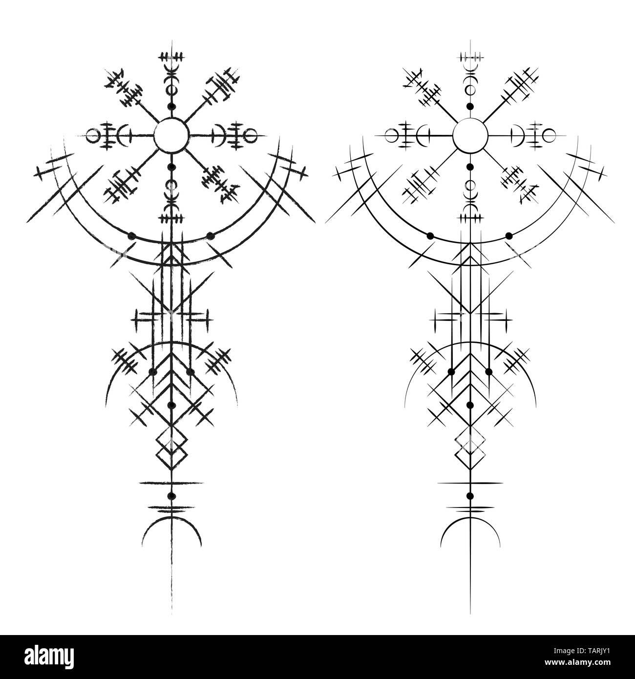 Black Abstract Viking Magic Symbols Isolated On White