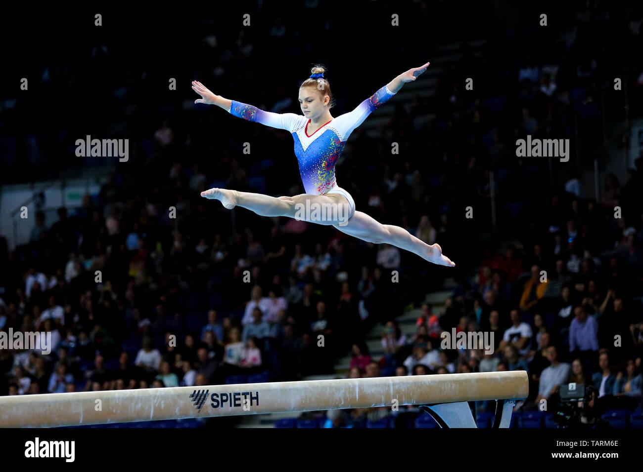 Szczecin, Poland, April 14, 2019: Romanian gymnast Denisa Golgota in action during the 8th European Championships in Artistic Gymnastics in Szczecin. - Stock Image