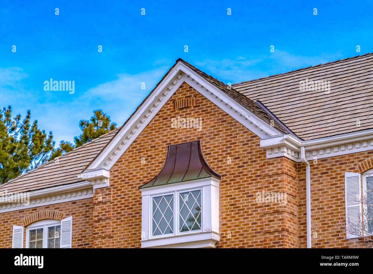 luxurious exterior of a house with lush trees and serene sky background the house features a classic brick wall and windows with white frames TARM9W