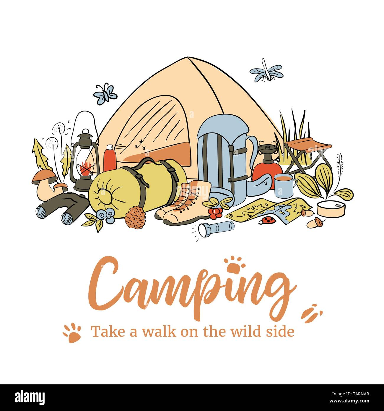 Camping poster template. Take a walk on the wild side. Hiking icons colored sketch style set. vector collection. frame on top text, copy space. Vector - Stock Vector
