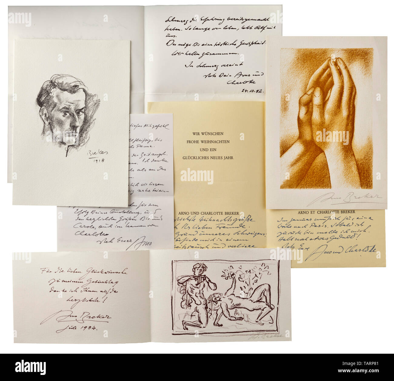 Arno Breker (1900 - 1991) - 13 letters from the period 1972 - 1991, Letters to his friend, the painter and graphic artist Alf Bayrle (1900 - 1982), and to Bayrle's wife Carola. Nine letters with Breker's original signature in the text or on graphics by Breker. Among them invitations to exhibitions, Christmas greetings, letters of condolence with very personal content as in the hand-written New Year greetings by Breker dated 1976, which say: (tr.) 'I am so immersed in my work that I lose my sense of time.' or a hand-written letter by Breker to Bayrle dated 2 December 1980, i, Editorial-Use-Only - Stock Image
