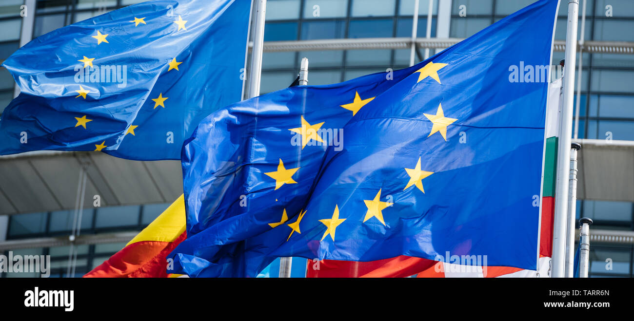 Detail of flags of all member states of the European Union waving in calm wind in front of the Parliament headquarter on the day of 2019 European Parliament election. - Stock Image