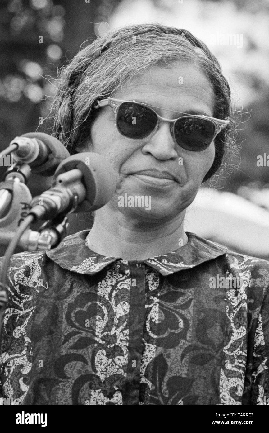 Rosa Parks, known for her stand against racial bus segregation in Montgomery, Alabama, speaking near the Washington Monument at The Poor People's March on Washington in Washington, D.C. on June 19, 1968. Stock Photo