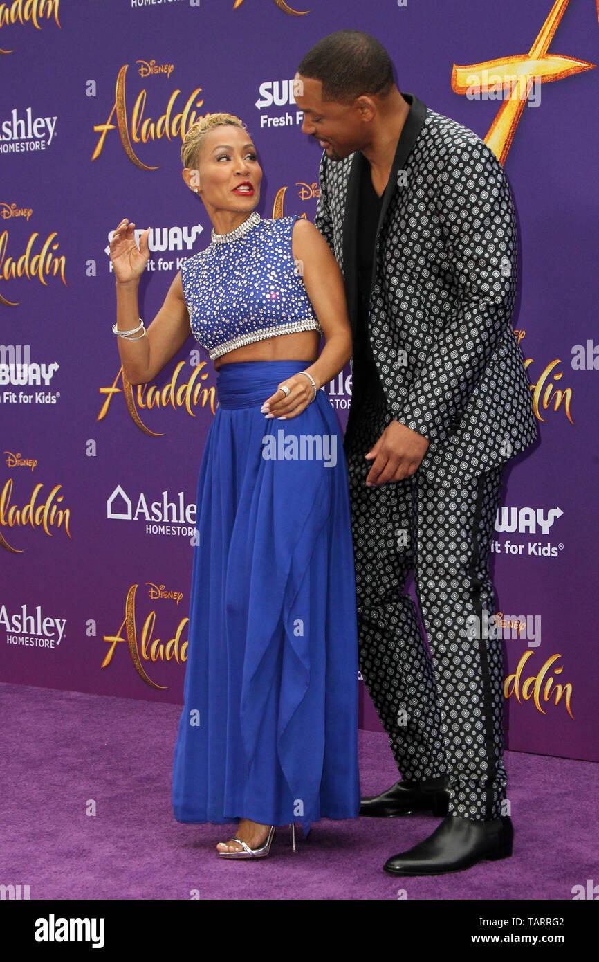 May 21, 2019 - Los Angeles, CA, USA - LOS ANGELES - MAY 21:  Jada Pinkett Smith, Will Smith at the ''Aladdin'' Premiere at the El Capitan Theater on May 21, 2019 in Los Angeles, CA (Credit Image: © Kay Blake/ZUMA Wire) Stock Photo