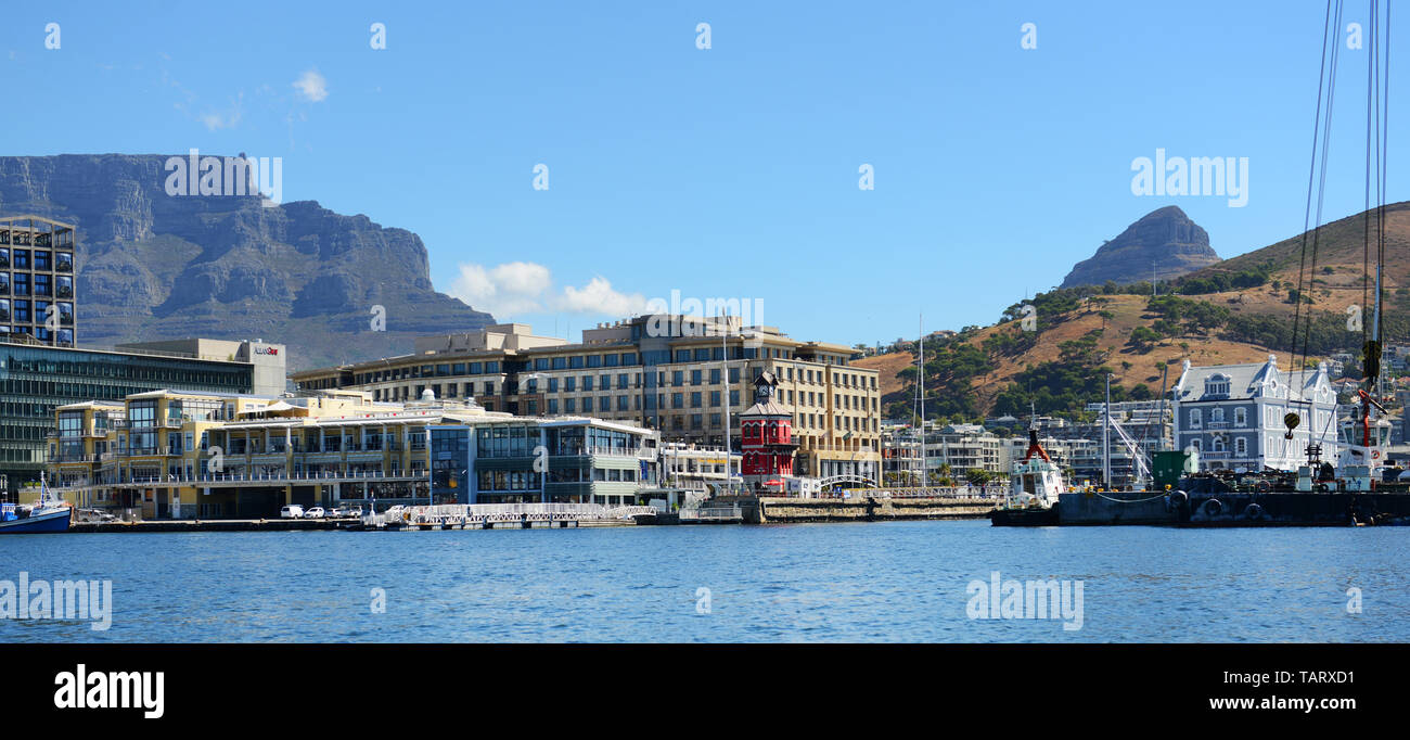 V & A Waterfront as seen from a boat in the Marina. - Stock Image