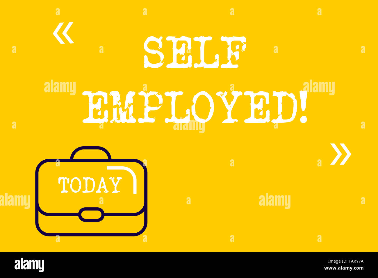 Word writing text Self Employed. Business photo showcasing owner of a business rather than for an employer Freelancer Brief Case Attache Case against  - Stock Image