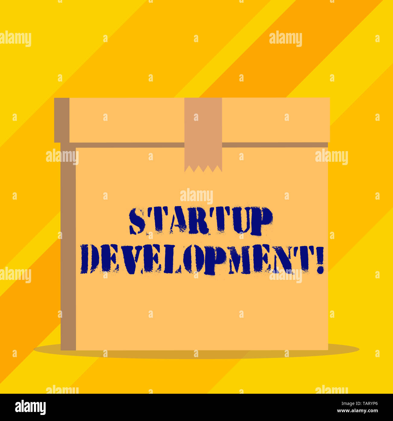 Writing note showing Startup Development. Business concept for efficiently develop and validate scalable business model - Stock Image