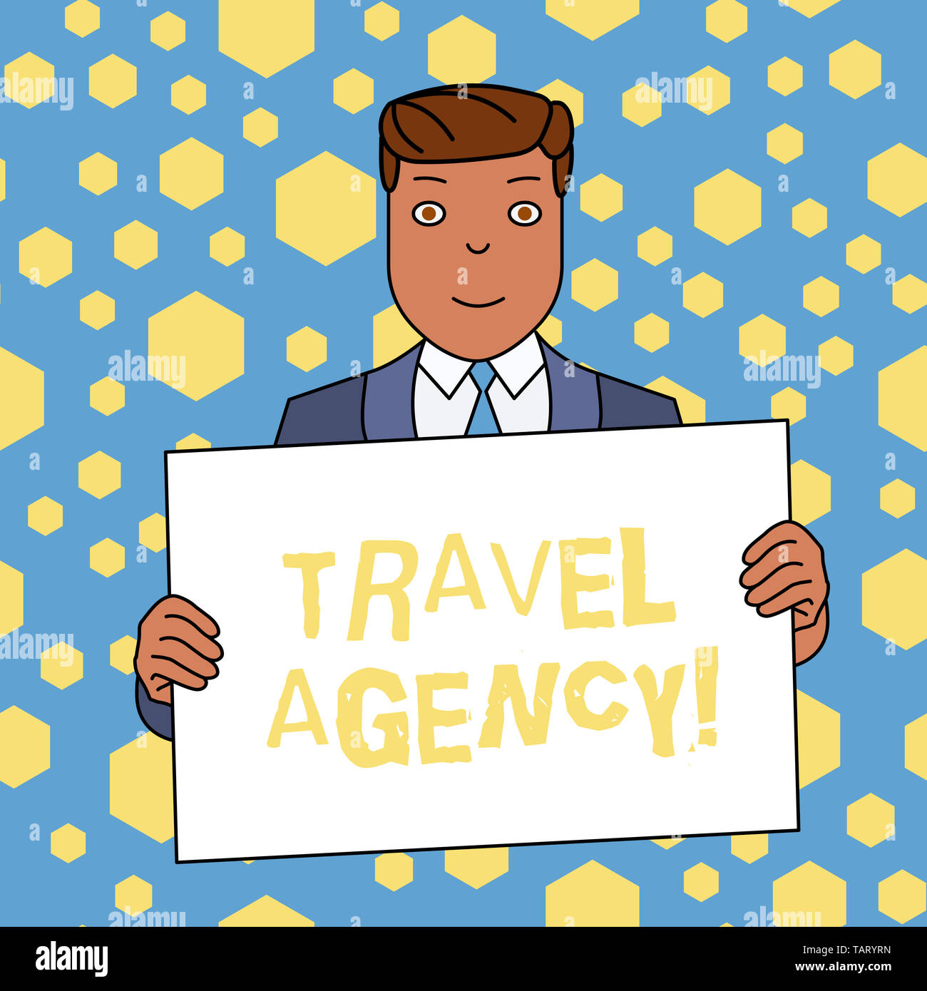 Handwriting text writing Travel Agency. Conceptual photo Agency that makes the necessary arrangements for travelers Smiling Man Holding Formal Suit Bi - Stock Image