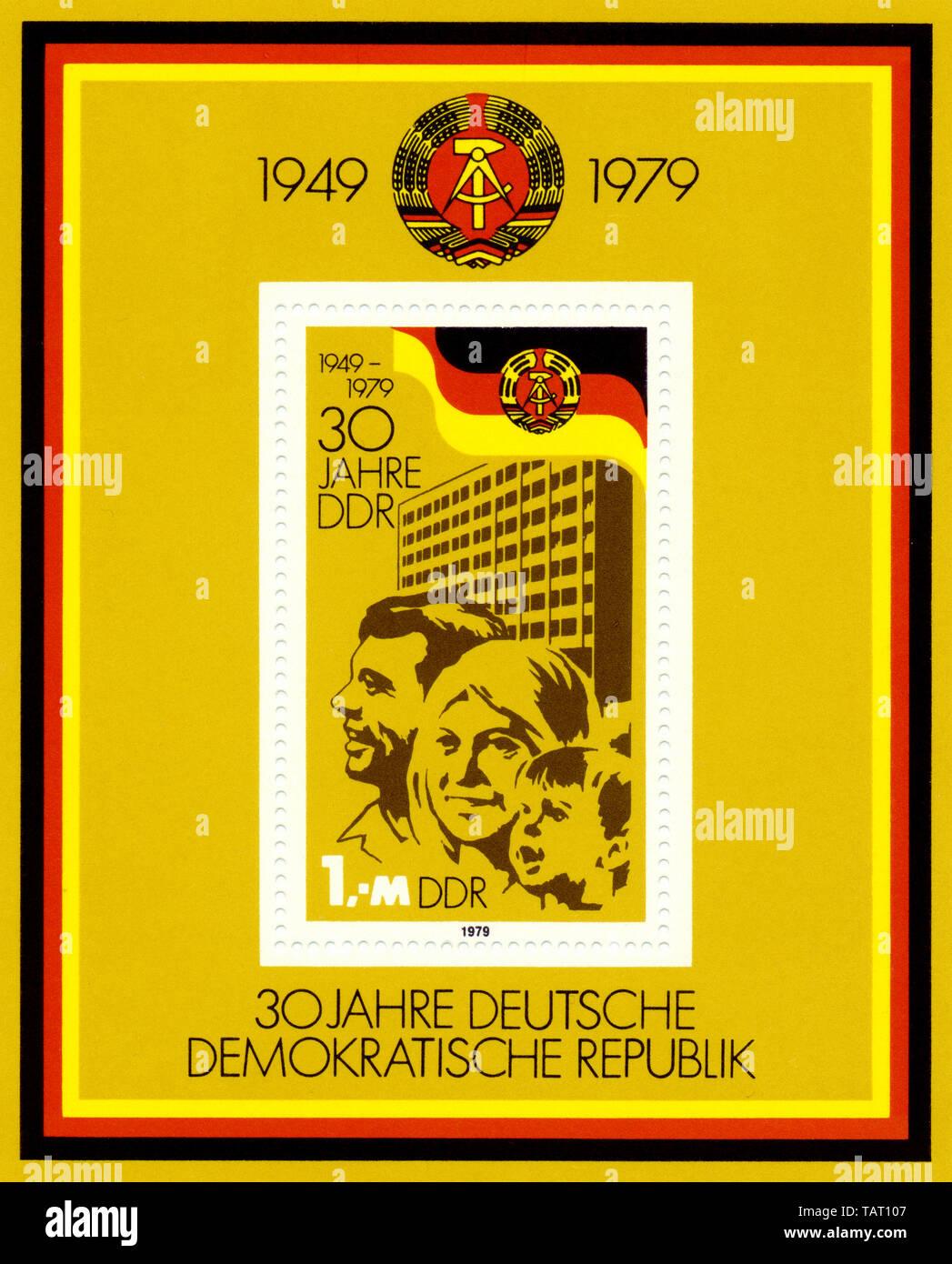 Historic postage stamps of the GDR, political motives, Historische Briefmarke der DDR, 30 Jahre Deutsche Demokratische Republik, 1979 - Stock Image