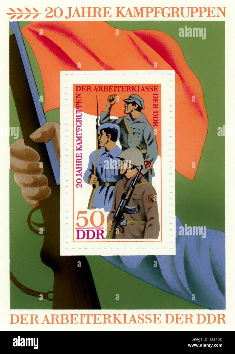 Historic postage stamps of the GDR, political motives, Historische Briefmarke der DDR, 20 Jahre Kampfgruppen, Deutsche Demokratische Republik, 1973 - Stock Image