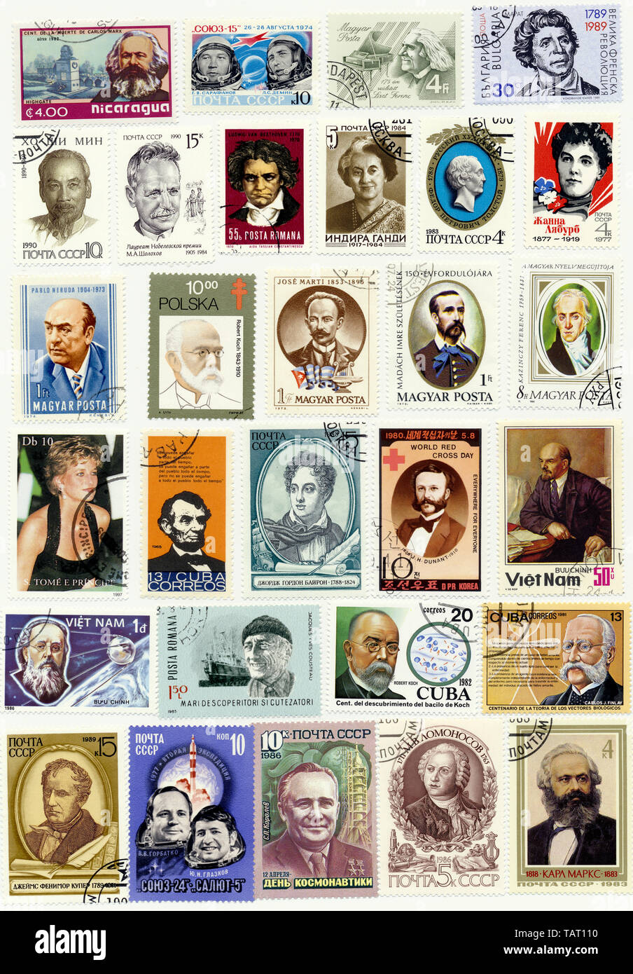 Historic postage stamps, international personalities, Historische Briefmarken, internationale Persönlichkeiten - Stock Image