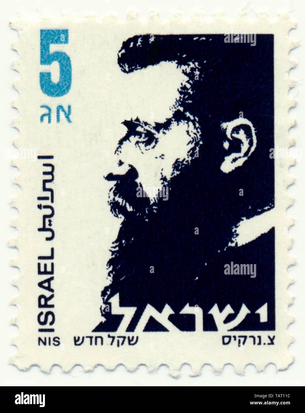 Historic postage stamps from Israel, Historische Briefmarken, Dr. Theodor Herzl, 1986, Israel, Asien Stock Photo