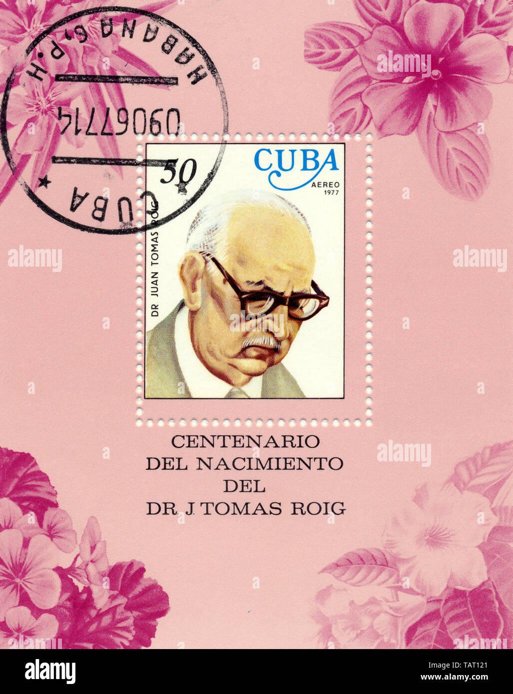 Historic postage stamps from Cuba, Historische Briefmarken, Andenken an den Botaniker Juan Tomas Roig , 1977,  Kuba - Stock Image
