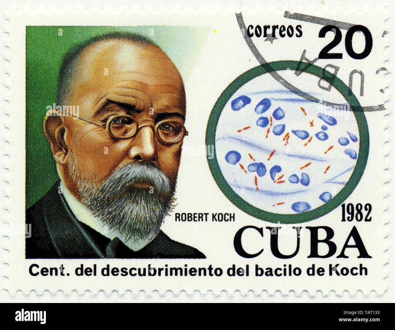 Historic postage stamps from Cuba, Historische Briefmarken, Robert Koch, 1982, Kuba, Karibik - Stock Image