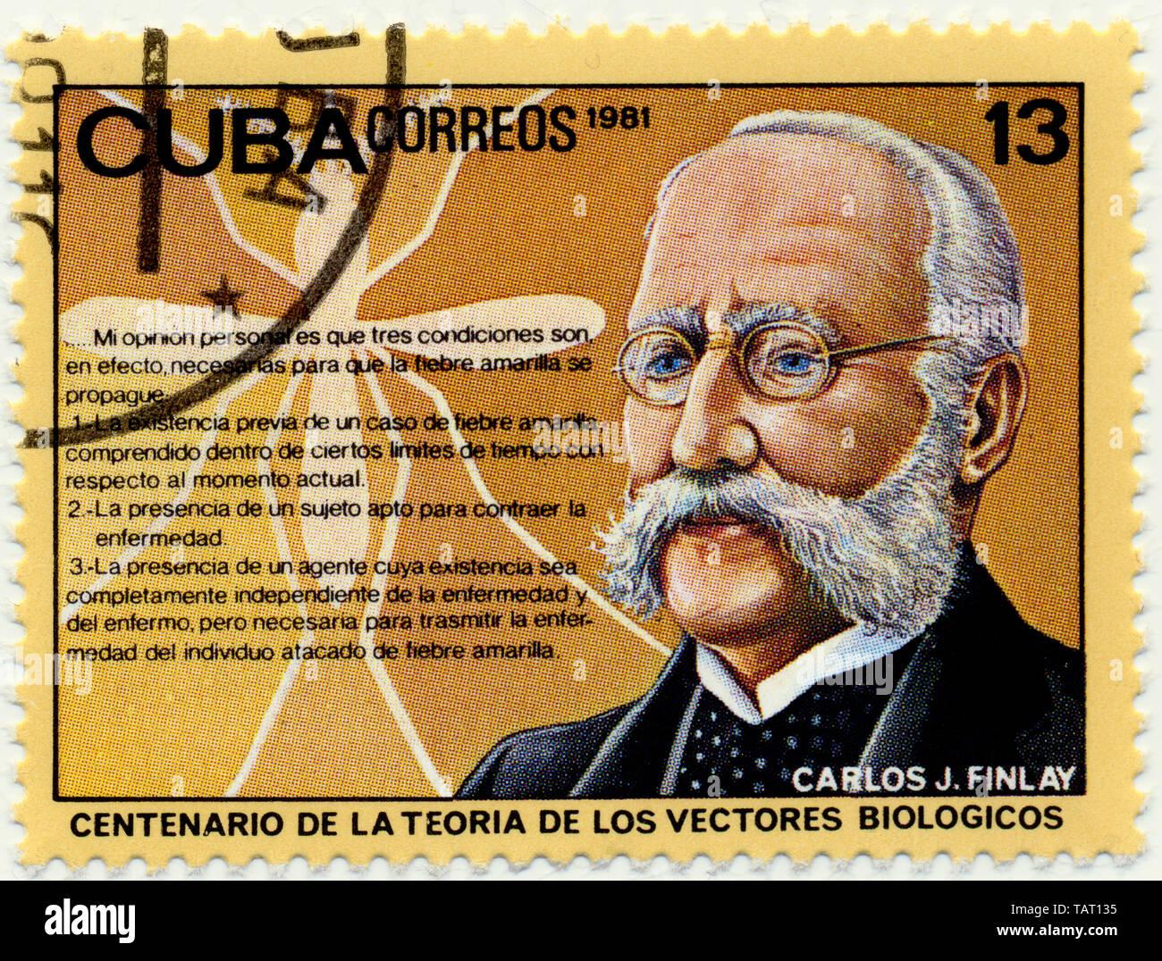 Historic postage stamps from Cuba, Historische Briefmarken, Carlos Juan Finlay de Barres, 1981, Kuba, Karibik Stock Photo