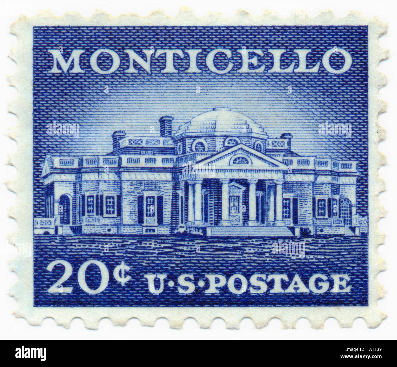 Historic postage stamp, the Monticello building, the Palladian-style country estate of President Thomas Jefferson, Historische Briefmarken, 20 cent, 1956, Monticello, das im palladianischen Stil erbaute Landgut des US-Präsidenten Thomas Jefferson, Virginia, USA - Stock Image