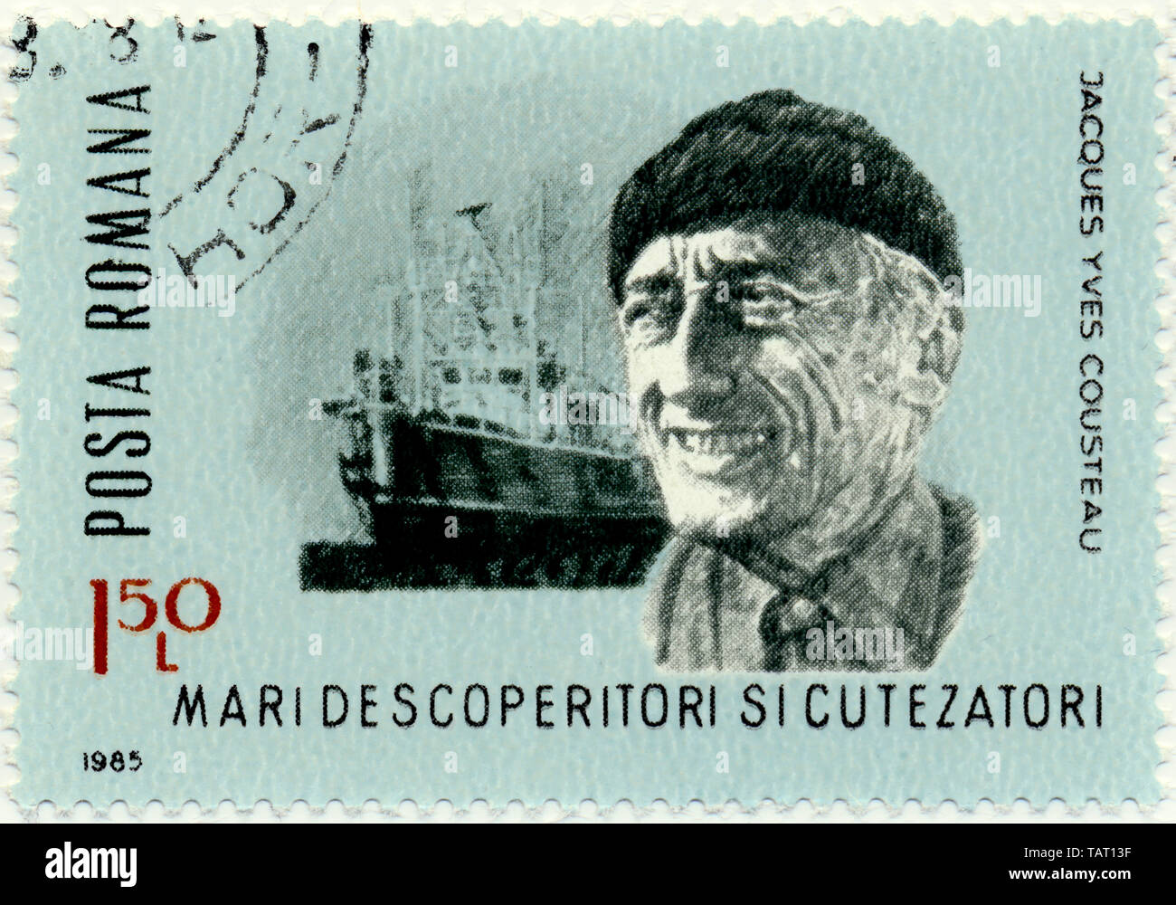 Historic postage stamps, Romania, Historische Briefmarke, Jacques-Yves Cousteau, 1985, Rumänien, Europa Stock Photo