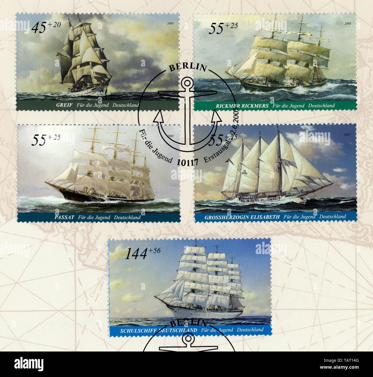 Historic postage stamps, Deutsche Briefmarken, Wohlfahrtsmarken von 2006, Großsegler, Greif, Passat, Rickmer Rickmers, Schulschiff Deutschland, Großherzogin Elisabeth - Stock Image