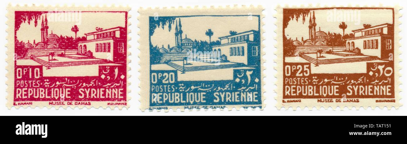 Historic postage stamps from Syria, Damascus National Museum, Syrian Arab Republic, Historische Briefmarken aus Syrien, Das Nationalmuseum Damaskus, Arabische Republik Syrien - Stock Image
