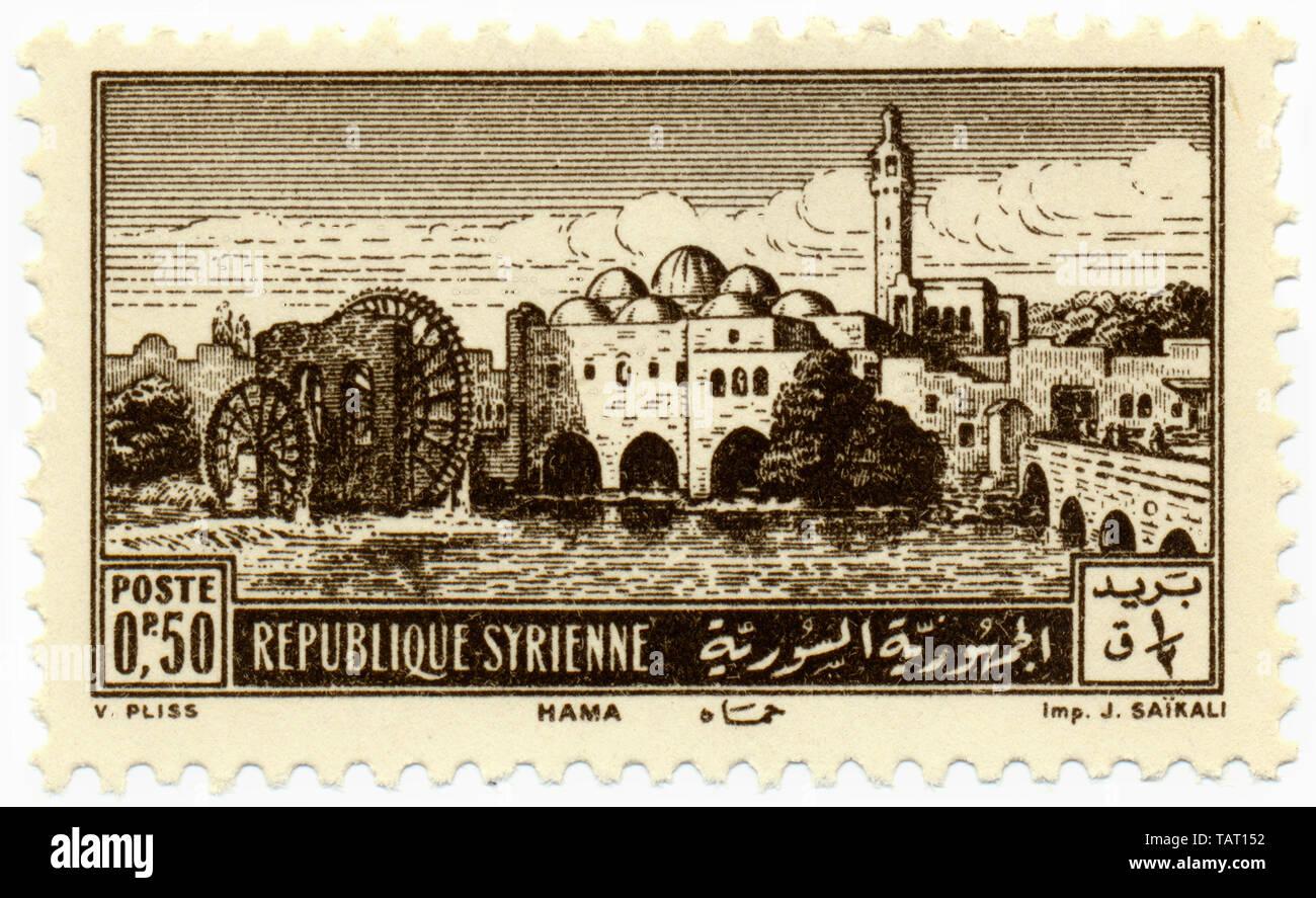 Historic postage stamps from Syria, Historische Briefmarken aus Syrien, Stadtansicht von Hama, Arabische Republik Syrien - Stock Image