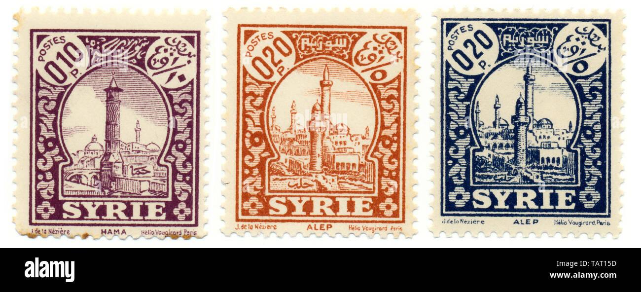 Historic postage stamps from Syria, Historische Briefmarken aus Syrien, Stadtansichten von Hama und Aleppo, Arabische Republik Syrien - Stock Image