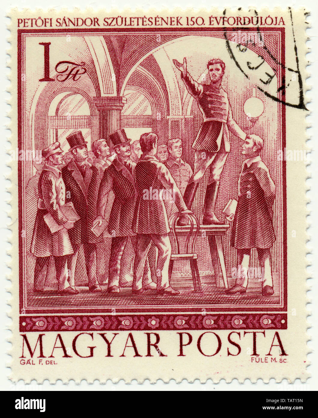 Historic postage stamps from Hungary, the poet and national hero Sandor Petrovic, Historische Briefmarke, der Dichter und Nationalheld Petrovic Sandor, 1975, Ungarn, Europa - Stock Image
