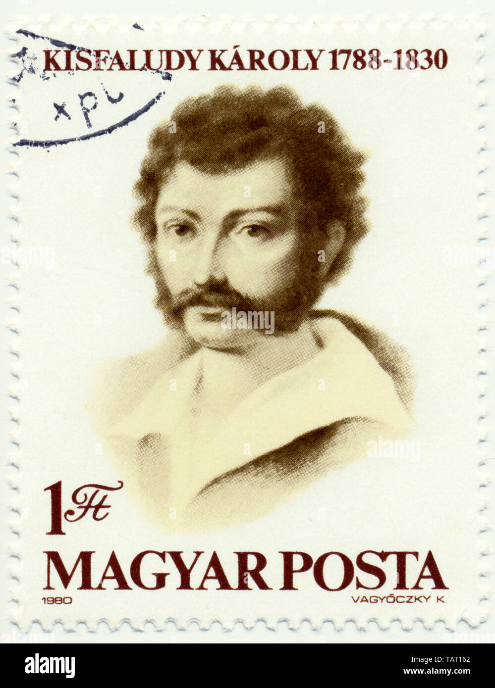 Historic postage stamps from Hungary, Historische Briefmarke, Karoly Kisfaludy, 1980, Ungarn, Europa Stock Photo