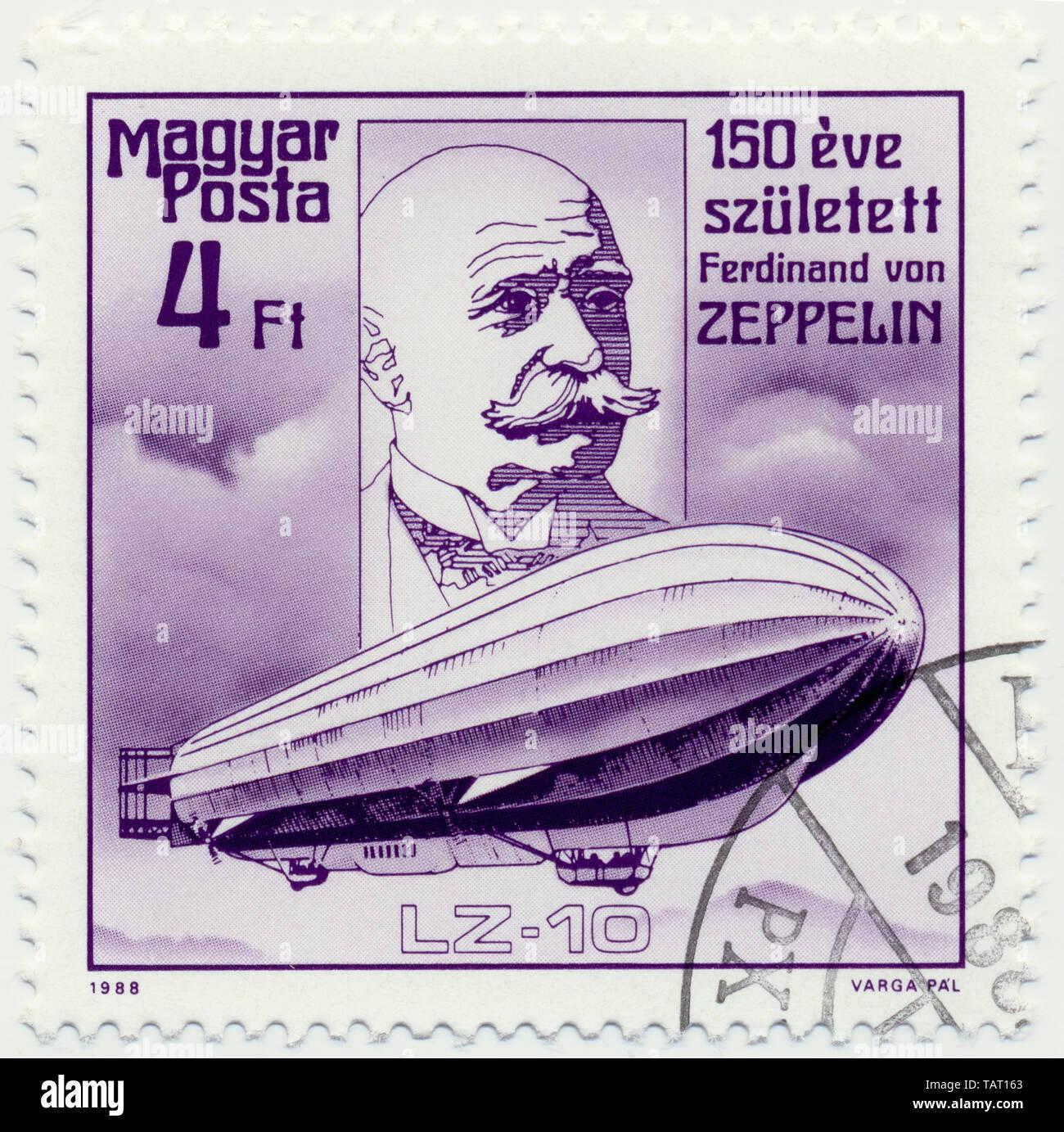 Historic postage stamps from Hungary, Historische Briefmarke, Ferdinand  Graf von Zeppelin, 1988, Ungarn, Europa Stock Photo