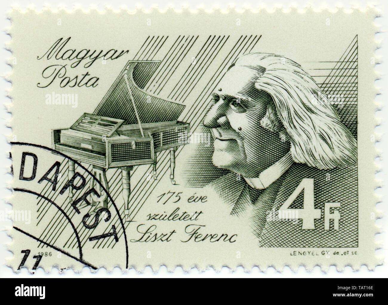 Historic postage stamps from Hungary, Historische Briefmarke, Franz Liszt, 1986, Ungarn, Europa Stock Photo