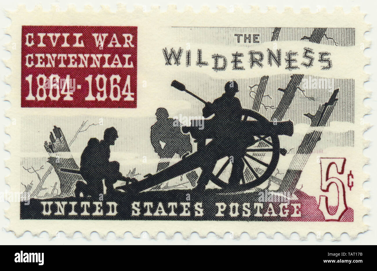 Historic postage stamp, Battle of the Wilderness, a battle of the American Civil War, Historische Briefmarken, 1964, Battle of the Wilderness, eine Schlacht im Amerikanischen Bürgerkriegs, 1864, Virginia, USA - Stock Image